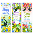 easter holidays floral banner with flower and bird vector image