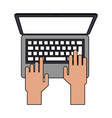 color image cartoon top view hands typing in vector image