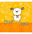 Hugs and kisses greeting card with cute puppy vector image