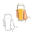 Glass of beer in hand vector image vector image