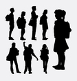 People going to school silhouettes vector image