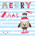 Christmas greeting card with cute owl vector image