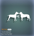 Betting on dog fighting icon On the blue-green vector image
