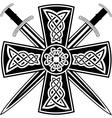 celtic cross and swords vector image