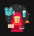 Movie Concept Flat Style Chair in Movie Theater vector image