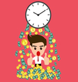 Time is money whit happy businessman vector image
