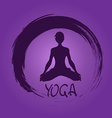 Yoga label with Zen symbol and Lotus pose vector image