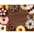 Mix of donuts on wooden background vector image
