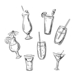 Drinks cocktails and beverages sketches vector image