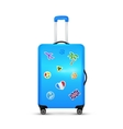 Blue traveler wheels suitcase isolated on vector image