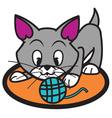 Cat and Yarn Ball vector image