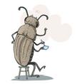 funny beetle drinking tea vector image