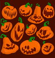 Halloween pumpkin icons cartoon vector image