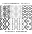 monochrome abstract seamless pattern set vector image