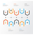 music flat icons set collection of acoustic vector image