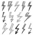 set of black lightning icon vector image