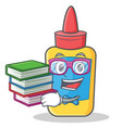 student with book glue bottle character cartoon vector image