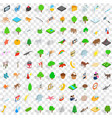 100 preserve icons set isometric 3d style vector image