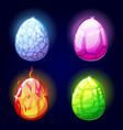 magic set icons dragon eggs game elements vector image