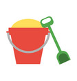 toy bucket with sand and shovel icon image vector image