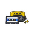 Black and yellow audio player walkman and vector image