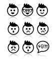 Man or boy with spiky hair faces icons set vector image