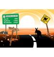 Kangaroo standing on road in the Australian vector image