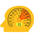 car speedometer in the human brain vector image vector image