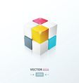 3D Cube pink blue yellow vector image vector image