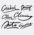 car wash and cleaning hand written typography vector image
