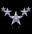 Five silver stars in the shape of wedge on black vector image
