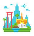 flat design bangkok landmarks vector image