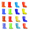 lovely collection of gum boots different colors vector image