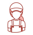 red contour of half body of faceless delivery vector image