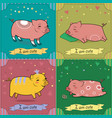 set of cartoon pigs vintage greeting cards vector image