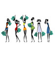 silhouettes of women with shopping vector image