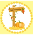 Wooden arrow with grapes and pumpkins Thanksgiving vector image