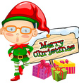 Christmas theme with elf and present boxes vector image vector image
