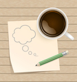 Coffee with bubble on paper note and pencil vector image vector image