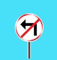 Prohibitory traffic sign left turn prohibited vector image