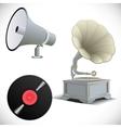 Gramophone megaphone vinyl record vector image vector image