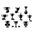 Black and white sports trophies vector image
