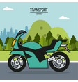 colorful poster of transport with motorcycle in vector image