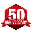 Fifty year anniversary badge with red ribbon vector image