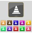 road cone icon Set colourful buttons vector image