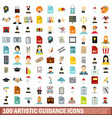 100 artistic guidance icons set flat style vector image