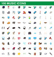 100 music icons set cartoon style vector image