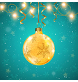 Golden shining Christmas decoration and ribbons vector image
