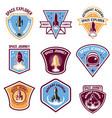 space camp emblems rocket launch astronaut vector image