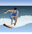Beginner surfer is on the wave vector image